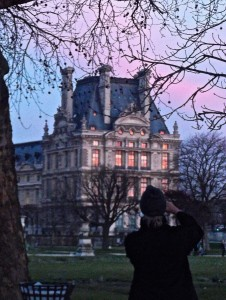 Paris- Louvre reflecting sunset
